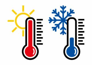 Two thermometers, showing one low and one high temperature.